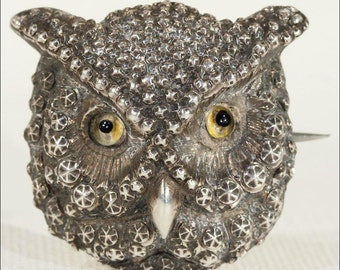 Antique Victorian Owl Brooch Pin in Silver with Glass Eyes