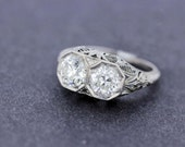 Double Diamond in Octagon Setting in Platinum with Filigree
