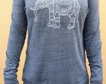 Elephant Sweater - Embroidered Elephant Sweatshirt -  Eco Jersey Elephant Shirt Women
