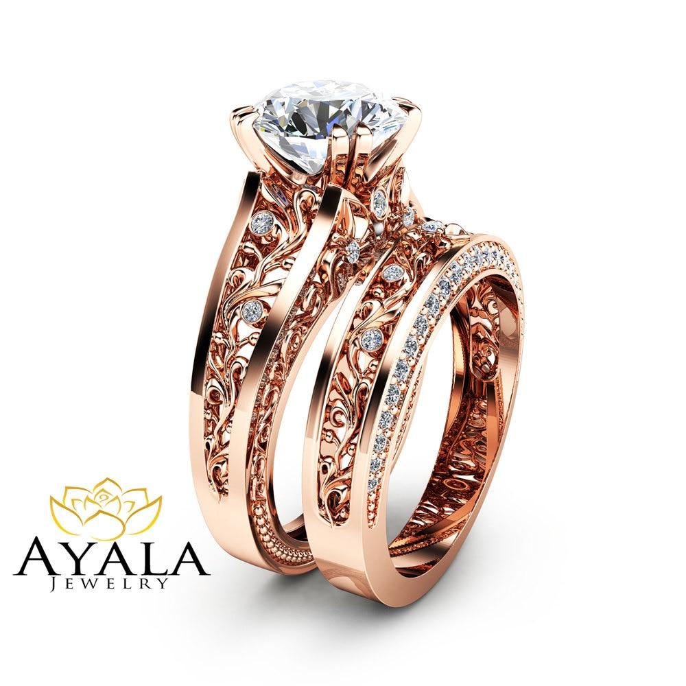 rose gold moissanite engagement ring set unique 2 carat. Black Bedroom Furniture Sets. Home Design Ideas