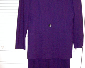 Vintage Kasper Deep Purple Plum  Career Preppy Classic Suit.  Career Corner Office Suit Size 8 - 10