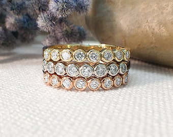 Set of Three Diamond Bands   Diamond Ring Set   Diamond Bands   Solid 14K White, Yellow, and Rose Gold Rings   Fine Jewelry   Free Shipping