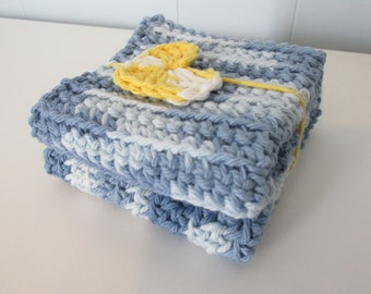 Crochet Steel Blue Wash Cloths (Set of 2)