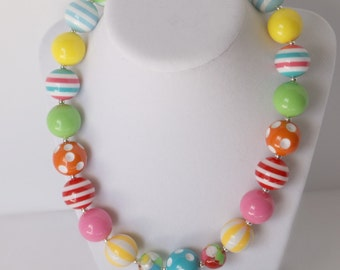 Girls Chunky Necklace -  Chunky Necklace Girls - Bubblegum Bead Necklace - Chunky Necklace Kids - Kids Chunky Summer Necklace - Birthday