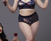"No wire bra and high waisted panties, ""Old Fashionned"" set, sheer mesh sides, floral cotton velvet, deep blue satin,  lined cups bralette"