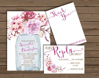 Wedding Invitation with Mason Jar & Burgundy Roses