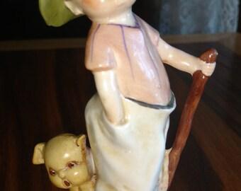 Sale!   Antique German Porcelain Boy and Dog Figurine