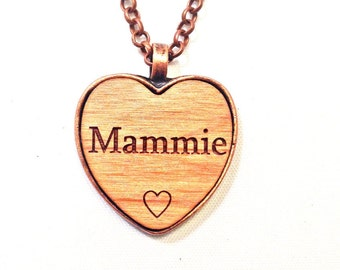 MAMMIE wooden heart NeCKLaCE pendant MAMMIE's jewelry necklace MAMMIE keychain wood name handmade engraved wooden personalized custom charm
