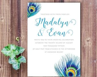 Peacock Feather Wedding Invitation, Peacock Wedding, Peacock Invitation,  Feather Invitation, Peacock Theme