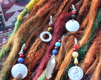 Deco dreads charm beads and disc silver