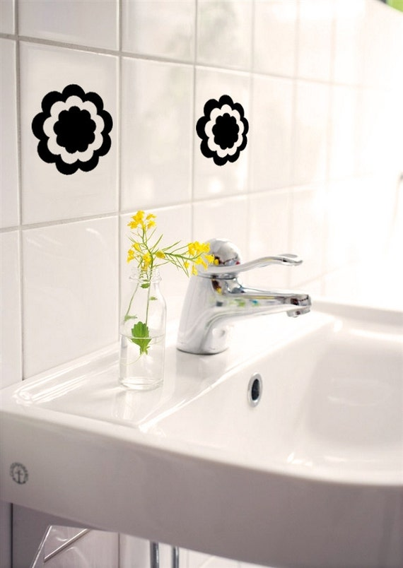 fleur sticker vinyle decal tuile sticker salle de bain sticker dcoration murale art - Stickers Tuile Vinyle Salle De Bain
