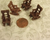 "1 Micro Miniature Rocking Chair for Dollhouse Fairy Home Diorama Craft Supply Vintage New Old Stock 1/4"" Scale"