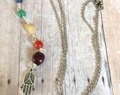 Chakra Necklace Chakra Beaded Lariat Necklace Hamsa Hand Charm Necklace Seven Chakras Gemstone Necklace Rainbow Necklace Yoga Jewelry (N104)