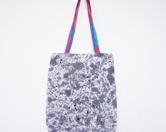 Linen tote bag abstract grey and black eco-conscious hand painted