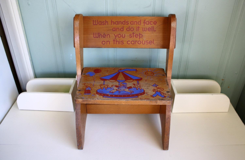 Childs Step Stool Folding Chair Irmi Carousel 1950s Wood
