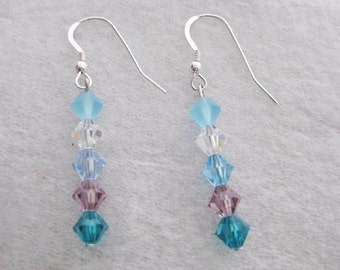 Earrings ~  Sterling Silver  Swarovski Crystals    Aqua Blue Turquoise green Lilac  Drop Dangle