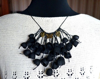 necklace black silk cocoon, silk cocoons jewelry, black necklace, gothic, necklace silk cocoon, Boho chic