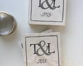 Wedding Coasters, Ampersand gift, Personalized Couple gift, Monogram Wedding Gift, Engagement Party Gift, Wedding date Gift