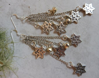 Silver Star Earrings, Shoulder Duster Earrings, Gothic Earrings, Goth Jewelry, Tibet Silver Star Earrings, Unique Gift Idea, Gift for Her