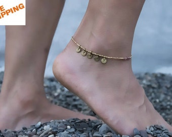 Ethnic Anklet, Charm anklet, Boho anklet, Clover anklet, Beaded anklet.