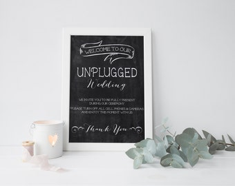 Unplugged Wedding sign   Welcome Poster   CUSTOMIZABLE with your wedding COLORS   Proffesional Quality Print  