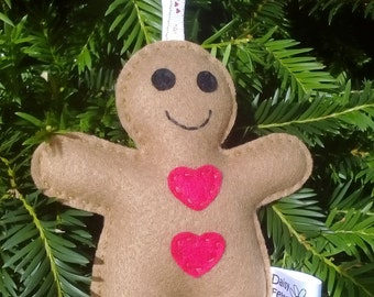 Gingerbread Man, Felt, Christmas Toy, Christmas Decoration, CE Tested, Felt Gingerbread Man, Christmas, Xmas, Love Hearts, Stuffed toys