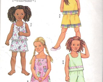 CHILDREN'S PULLOVER Top and Gown, Shorts & Pants Butterick Sewing Pattern 3480 Sizes 6, 7, 8. New Uncut Pattern