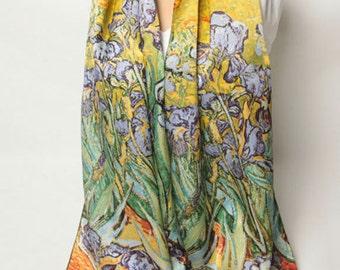 Irises by Van Gogh, Silk Scarf, Museum Silk Scarf, Irises scarf pattern, Purple Irises scarf, Fine Art iris, Van Gogh painting shawl