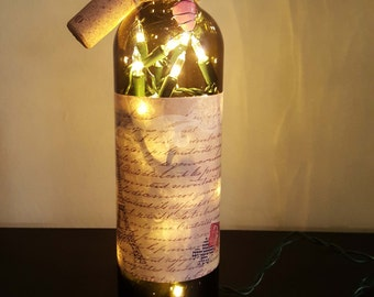 Lighted Wine Bottle, Wine Bottle Lamp, Upcycled Wine Bottle