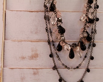 Gun metal, blush and black layered chain necklace