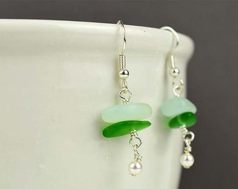 Sea foam sea glass earrings dangle earrings green sea glass earrings with pearls sea glass jewelry beach glass bridesmaids earrings gift