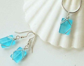 Light blue sea glass set aqua blue sea glass necklace and earrings wire wrapped sea glass jewelry wire bridesmaid set eco friendly recycled