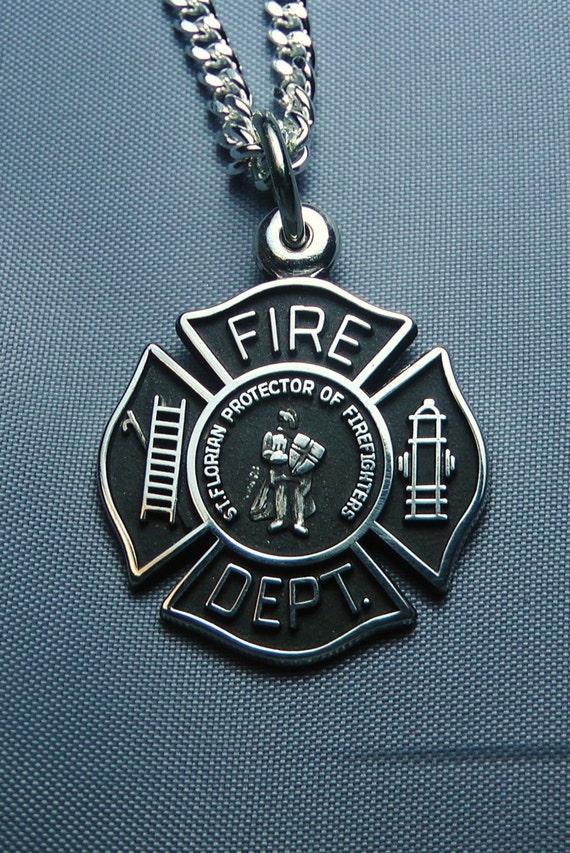 St Florian Medal Sterling Silver Maltese Cross Firefighter