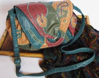 WINTER SALE! Vintage 80s Patchwork Purse / Hobo Bag | Shoulder Bag Crossbody Bag Vegan Purse Vegan Ostrich Multicolor