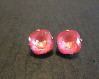 Ultra Coral Swarovski Crystal Earrings/Swarovski Crystal Studs/Swarovski Bridesmaid Earrings/Ultra Coral Crystal Studs/Square Crystal