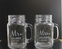 Set of Mr and Mrs/Mason Jar Mugs/Custom/Surname/Date/Engraved/Bride and Groom Glasses/Heart/Wedding Glass/Wedding Decor/Shower Gift