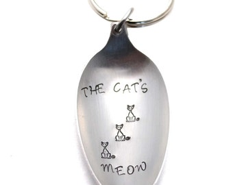Stamped Spoon, Silverware Keychain, Spoon Bowl Key Ring, Cat's Meow, Vintage Spoon Keychain Gift Under 10