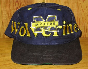 Michigan WOLVERINES Original Used Vintage Logo 7 Official NCAA Snapback Hat Licensed Collegiate Team Embroidered Sports Cap Twill Ballcap