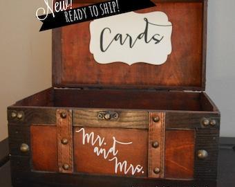 Brown Money Card  Box Wedding Holder Trunk, Medium - Wedding Money Card Box with Mr. and Mrs. - Medium Gift Card Box-Ready to Ship