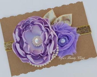 Lavender Gold headband. Lavender baby headband. Lavender baby. Lavender headband. Girls headband. Couture headband. Boutique headband