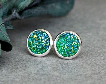 Green Stud Earrings, Green Druzy Earrings, Green Druzy Studs, Green Post Earring, Green Earrings, Green Studs, Green and Silver Earring 10MM