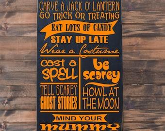 "Halloween Rules Vinyl Wood Sign 12""x24"". Halloween sign, Halloween decoration, Halloween decor, wall sign Halloween, Halloween wall art"