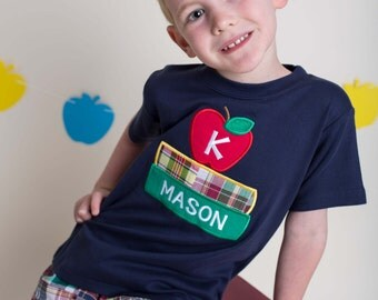 Boy's School Shirt with Books, Apple and Embroidered Name