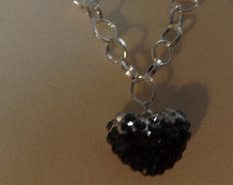 Silver Chain with Rhinestone heart