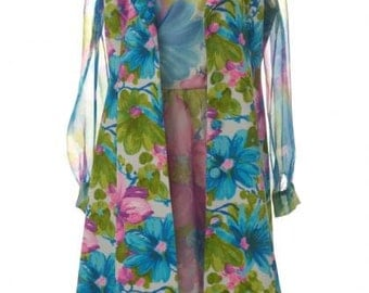 Vintage 1960's Floral Chiffon Dress w/ Matching Overcoat / Free U.S. Shipping