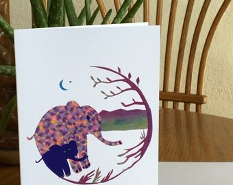 Mama Elephant and Baby, African card, cut paper art, whimsical, african art, african animal card, african greeting card children