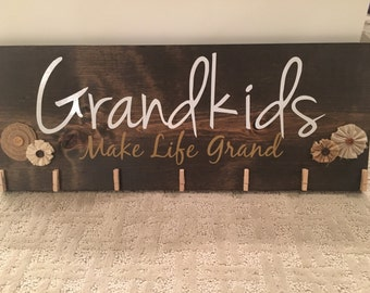 Grandkids Make Life Grand wood sign with clips for photos