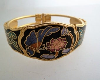 Vintage Cloisonné Enamel Clamper Bracelet Gold Tone with Flowers and Butterflies