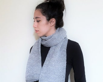 Double Knit Wool Scarf // Indis Scarf // Light Grey