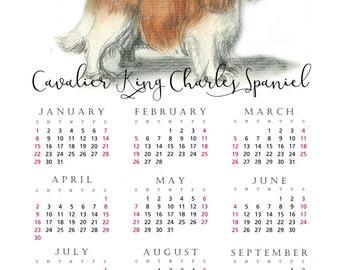 Cavalier King Charles Spaniel 2017 yearly calendar